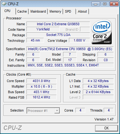 cpu-z Qx 9650 at 4 ghz