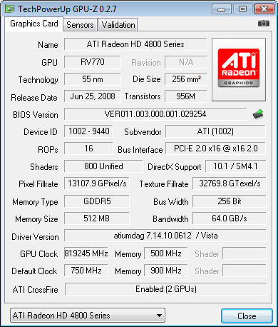Gpu z crossifre x HD 4870